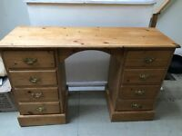 Lovely solid heavy pine dressing table draws either side