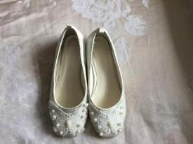 Girls cream shoes size 12 worn once