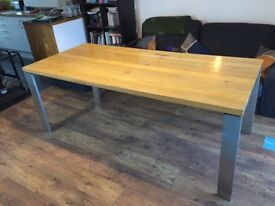 Solid Oak Dining Table with Six Chairs and Matching Sideboard