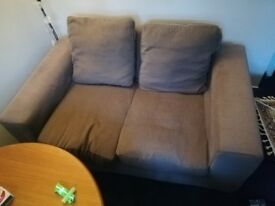 2/3 seater couch/ sofa, grey, covers removable, clean