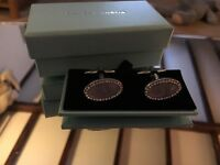 Hawes & Curtis Pearlescent Cufflinks white/black Diamonte/silver