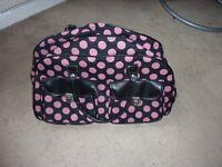 Bag holdall black pink spot