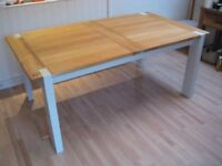 Solid Oak Extending Kitchen / Dining Table - Seats up to 10 - Professionally painted in F&B Eggshell