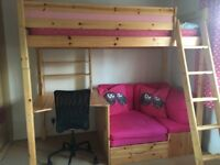 Girls High Sleeper Bed, with desk & seat