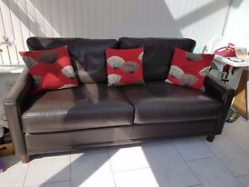 John Lewis Brown leather sofa, matching chair and footstool