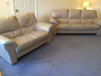 Matching 2 & 3 Seat Cream Leather Sofas