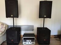 Wharfedale PA sound system DJ equipment Including 2x amps 2x subwoofer 2x top speakers with cables