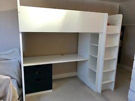 IKEA STUVA CHILD SINGLE CABIN LOFT BED BLACK & WHITE 3 DRAWERS WARDROBE AND DESK