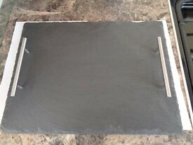 Slate Tray with metal handles