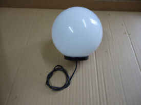 GLOBE FOR SALE, 250mm/ OPAL COLOUR/ WITH BASE/ NEW UNUSED/ GARDEN/PATIO ETC.