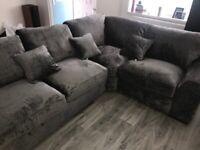 Crushed Velvet Grey Corner Sofa