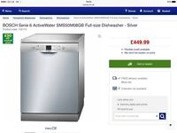 BOSCH Serie 6 ActiveWater SMS50M08GB Full-size Dishwasher - Silver