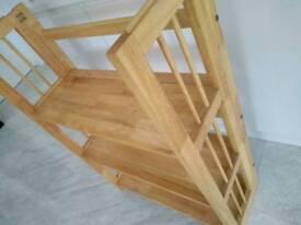 Folding bookcase solid wood storage