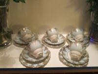 VINTAGE COLCLOUGH CHINA TEA SET, PASTEL BLUE WITH GOLD GILT, EXCELLENT CONDITION