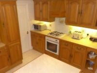 Solid Oak Kitchen various sizes in wall and base units some integrated appliances and smeg frudge