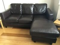 Sofa - Dark brown Leather 3 seater with chaise and storage stool.