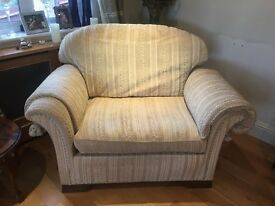 Chair and a half in beige velour fabric