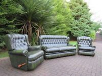 Chesterfield Leather 3+1+1 (Recliner) + Pouffe