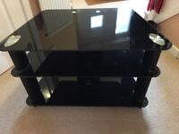 Black glass Three layered TV stand