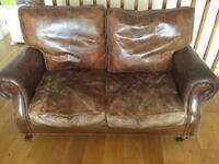 Vintage look leather sofa