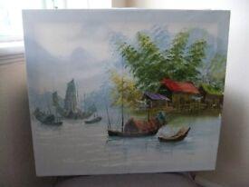 Original Oil Painting - Henry Anin Asian Boat/River Scene