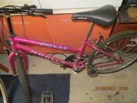 Female bicycle in very good condition. 23 inches tires and it's in purple. It's hardly used.