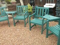 2 twin garden seats wooden