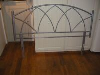 """Headboard, metal for 5' bed. Used, good condition. £15.00 or swap for 4'6"""" similar."""