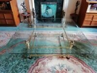 Vintage glass, lucite and brass/gold Hollywood Regency coffee table - Excellent condition - £250 ONO