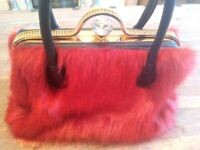 Faux Fur Red Diamante Handbag NEW perfect for Christmas!