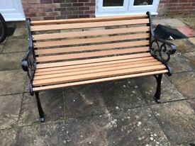 Cast iron oak bench