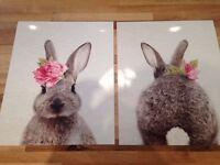 Bunny rabbit glossy prints, nursery, kids bedroom decoration