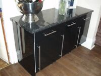 3 cupboard black kitchen unit.