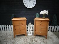 PAIR OF IKEA PINE BEDSIDE CABINETS WITH 3 DRAWERS SOLID SET AND THEY ARE IN VERY GOOD CONDITION