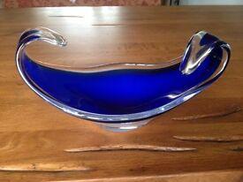 Retro 1970's Blue Glass Dish - Perfect Condition