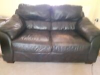 Leather brown 2 and 3 seater sofas