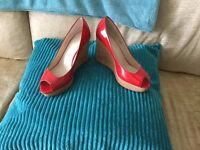 Red Patent Leather Wedges