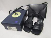 Smart real leather Kay navy blue sandals with box plus a matching handbag 7.5