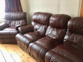 Super comfortable 3 Seater and 1 Seater brown leather recliner sofa