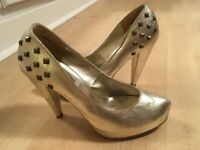 New Look Gold Sparkly Platform Heels - size 39 / 6 - Party Shoes Glam Clubbing Evening Wedding