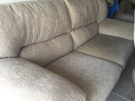 3seater sofa plus 2 matching armchairs beige fabric, £150 ono