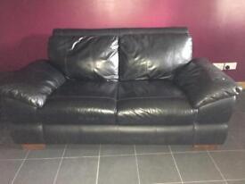 2 seater 3 seater leather sofa black