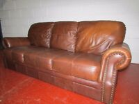 BROWN LEATHER SOFA FREE DELIVERY IN LIVERPOOL