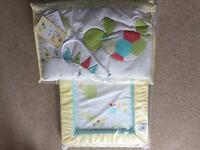 Brand New Cotbed set - Quilt, bumper, blanket, sheet and changing mat