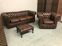 CHESTERFIELD 3 SEATER CLUB SOFA, CLUB CHAIR & FOOTSTOOL IN ANTIQUE BROWN LEATHER
