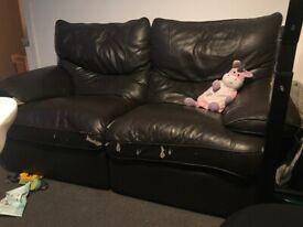2 seater recliner dark brown sofa