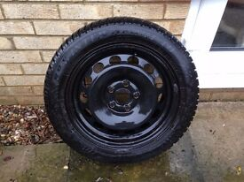 4 x Dunlop winter tyres 205/55 R16 on steel wheels Skoda fitment