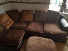 Brown large corner sofa with foot stool