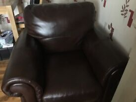 Real leather Cassina lialian leather sofa and chair dark brown