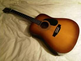 Encore EN155SB acoustic guitar and case